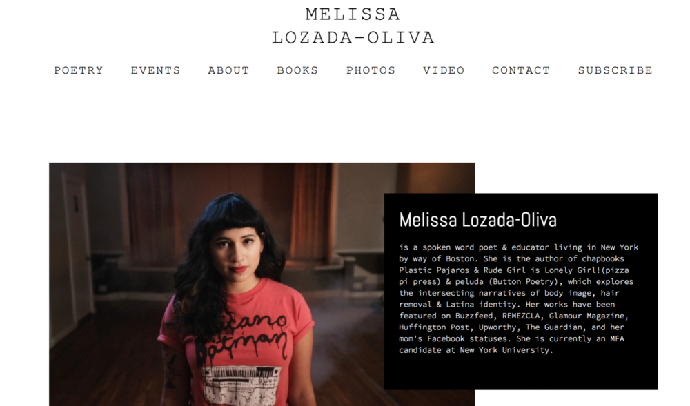 Melissa Lozada-Oliva   Developed this website on Squarespace for spoken word artist Melissa Lozada-Oliva.