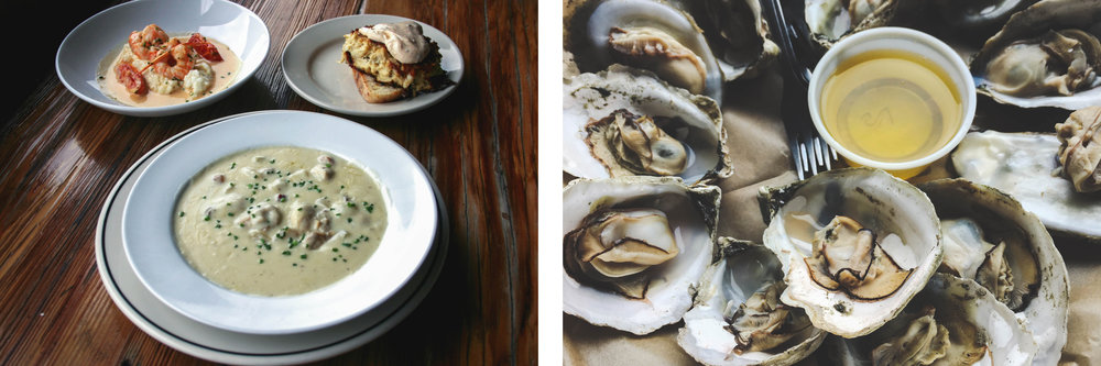 Shrimp and Grits, Crabcake and Oyster Chowder / Steamed Oysters with butter. Courtesy of Merroir Tasting Room - Image credit: VAfoodie