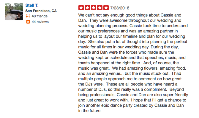 Stella T. Big Sur Point 16 Wedding Review Yelp - Los Gatos DJ.png