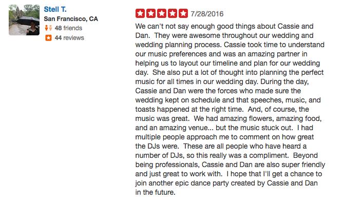 Stella T. Big Sur Point 16 Wedding Review Yelp - Los Gatos DJ.png