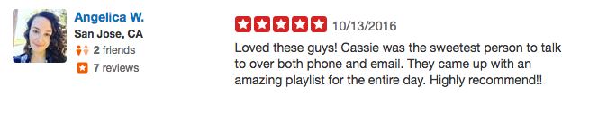 Angelica Point 16 Big Sur Wedding Yelp Review - Los Gatos DJ.png