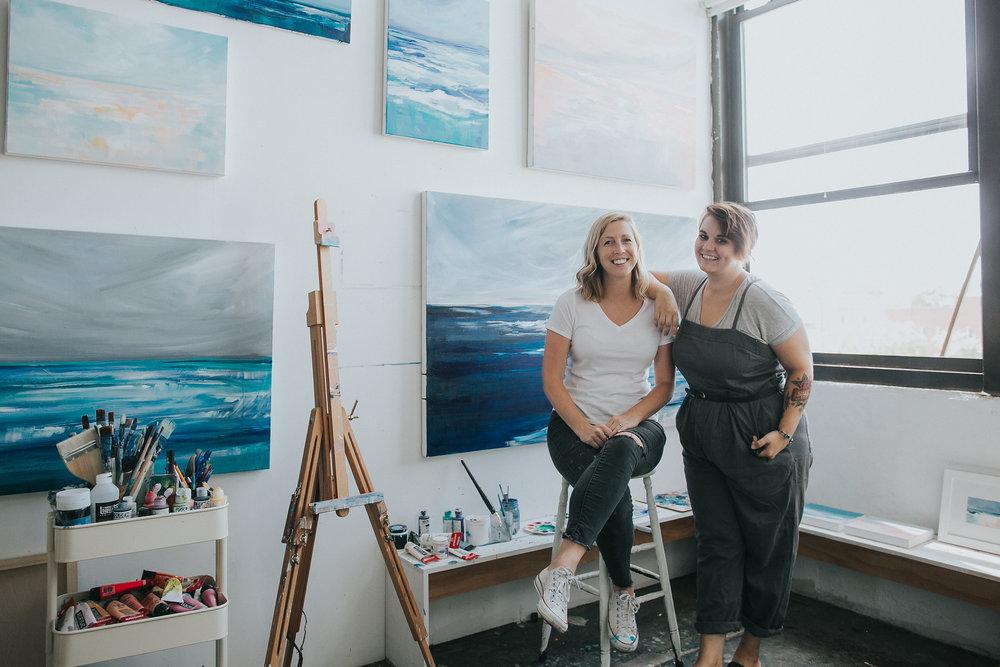 "Megan and Amy in their Brooklyn studio aka the ""Little Awkward Studio"""