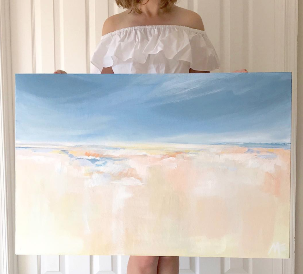"Abby Grace Photography  with her new painting ""Dawn"", 30x40, acrylic on canvas."