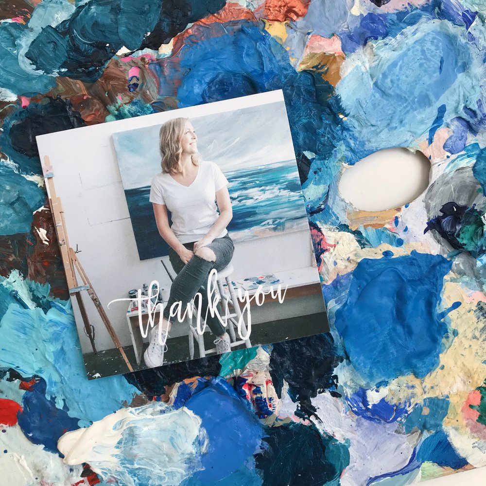 Mixbook  Thank you Cards + my messy palette :)