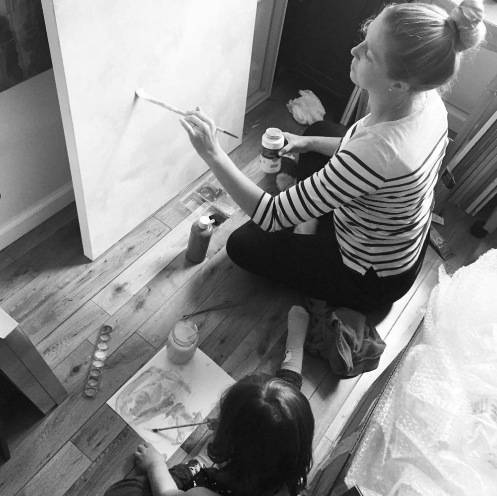 Art by Megan and her little artist at work in the studio