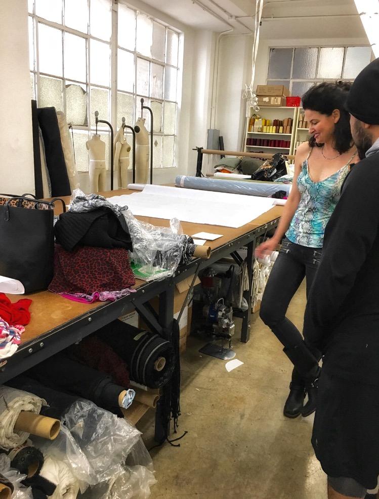 Designer Davis K. Brimberg, wearing her Rainbow Lauren top, in the studio.