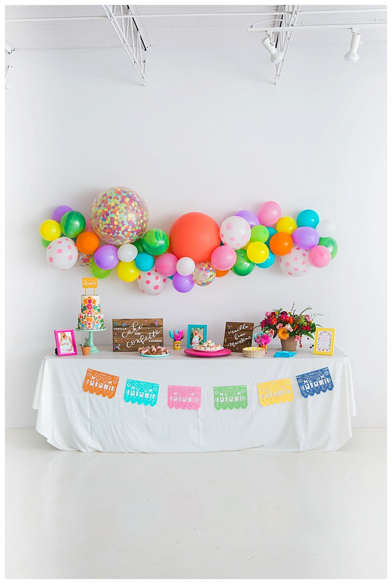 dessert table-fiesta-baby-shower-cake-and-confetti