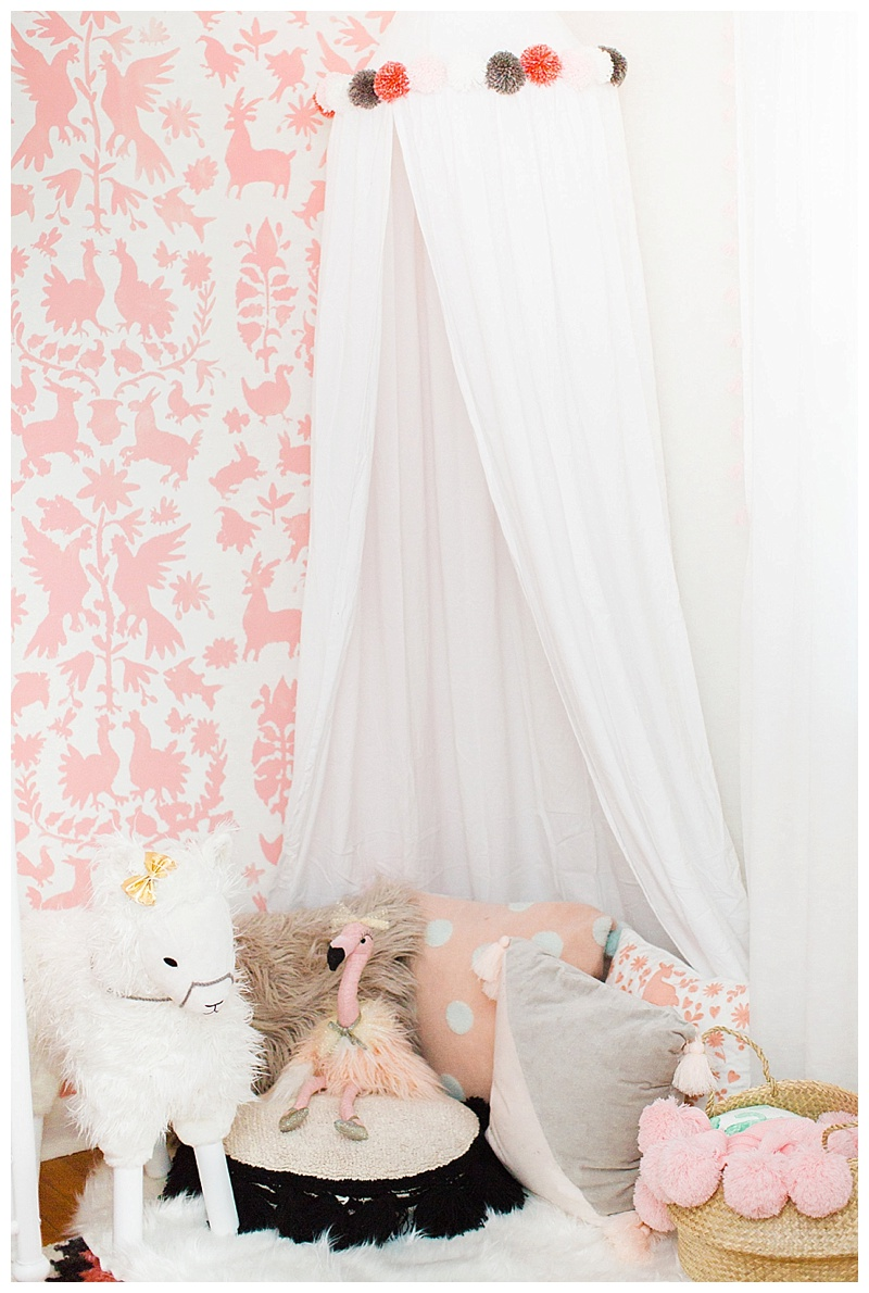 baby girl nursery reading nook
