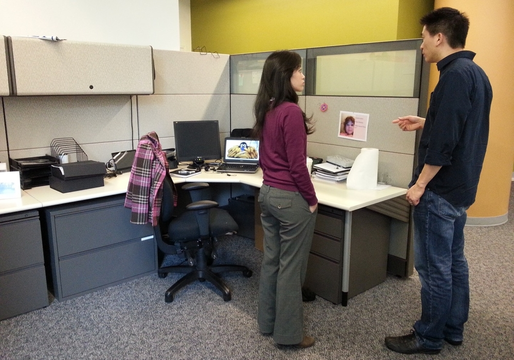 Interviewing a target end user at her office.