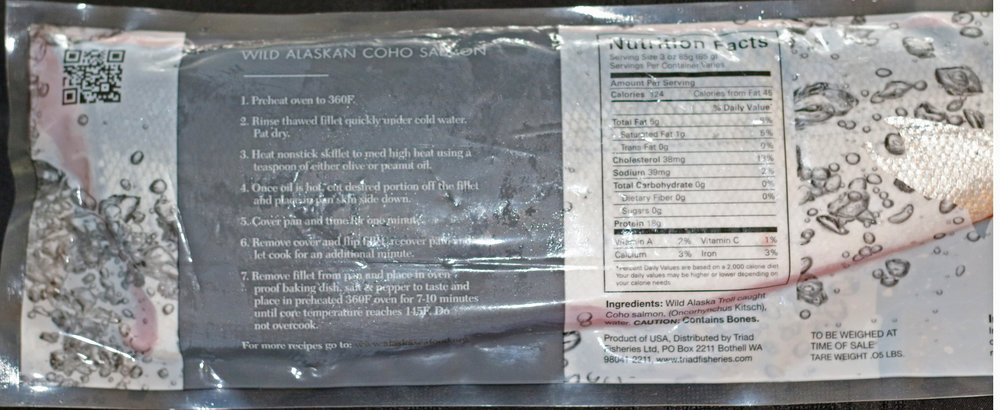Coho Fillet Packaged Back