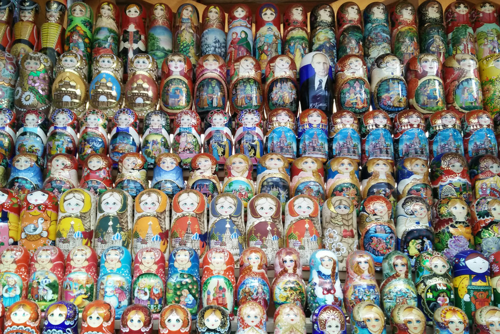 The Matryoshka dolls are a symbol of strong female matriarchs in Russia. A symbol of strength which Putin is jeopardising since decriminalising domestic violence. Source: Miriam Deprez