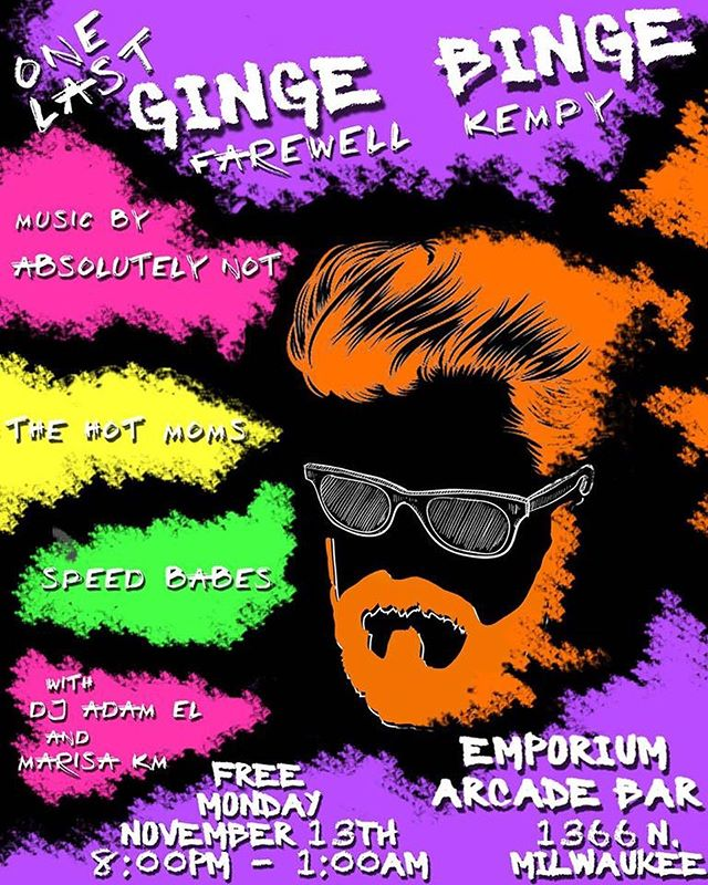 Let's ride Tony get for Kemp's send off. Join @thehotmoms @absolutelynotband and the speed babes for unstoppable jams and arcade games. Let the suds flow! FREE!!!