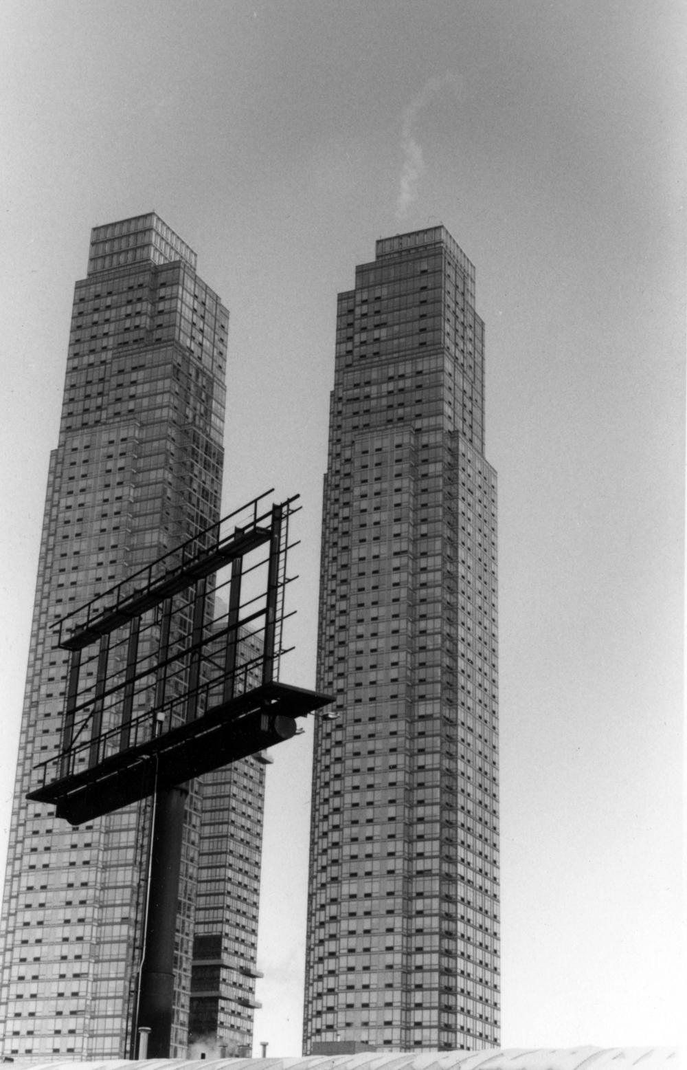 Two Towers & Skeletal Billboard, Westside, NY