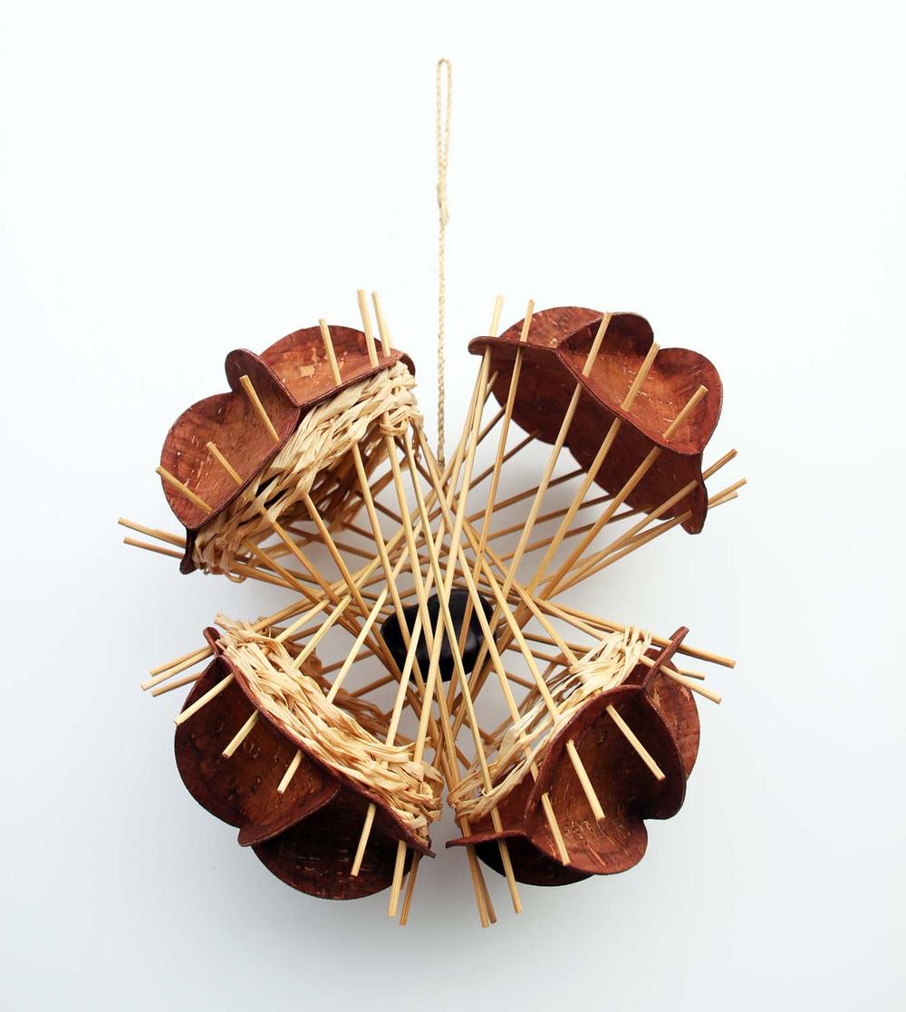 buckeye_12:2011_cork, wood, sinew, seed pod_10 x 5 x 16in_Bridges.jpg