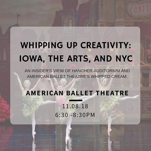 RSVP by October 29th! Visit the events page on our website (listed on our profile) to get the RSVP link.  Please join the New York Metro IOWA Club and local University of Iowa alumni and friends for an insider's view of Hancher Auditorium and American Ballet Theatre's Whipped Cream.  The whimsical full-length story ballet heads to Hancher for a pair of shows on April 6, 2019, and returns to New York later that spring. David Lansky, the general manager of American Ballet Theatre, will detail Whipped Cream's journey to Iowa City, and Pelli Clarke Pelli Architects design principal Mitchell Hirsch will provide a behind-the-scenes look at the project to rebuild Hancher.  Doors open at 6:30 p.m. with a live performance from singer-songwriter and cellist Gabriel Royal. The 7 p.m. program begins with remarks from Dan Patterson, the New York Metro IOWA Club president, and Hancher executive director Chuck Swanson. Space is limited for this special collaboration between Hancher and American Ballet Theatre—don't miss out!  #nychawkeyes #nymetroiowaclub #iowa #gohawks