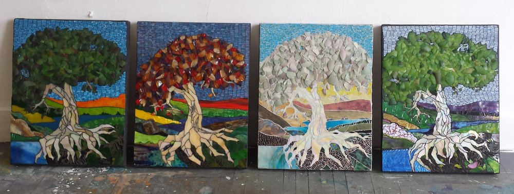 "Trees of Life ~ sea glass series   24"" x 18"""