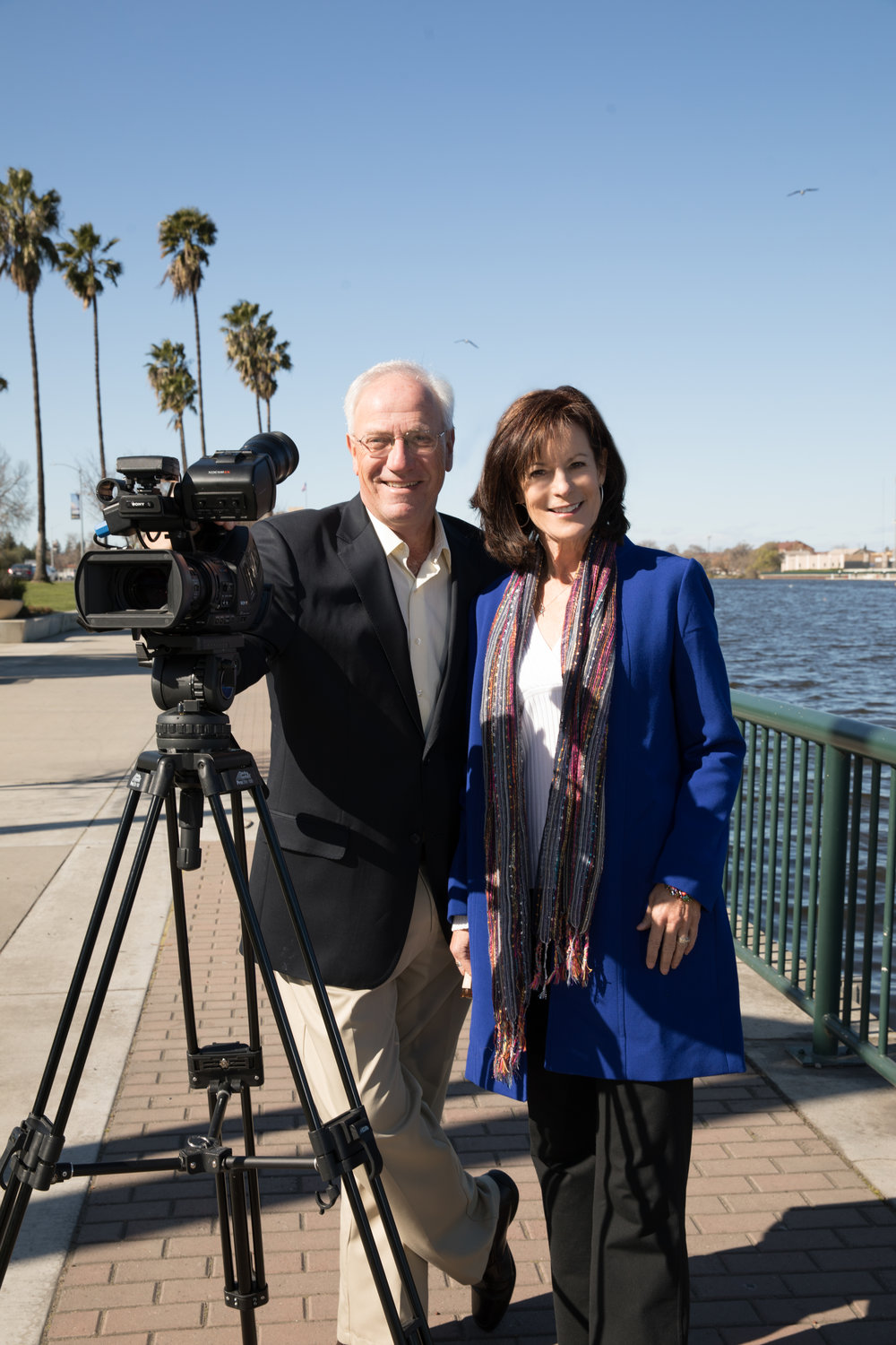 Barbara and Tim filming at the downtown Stockton waterfront