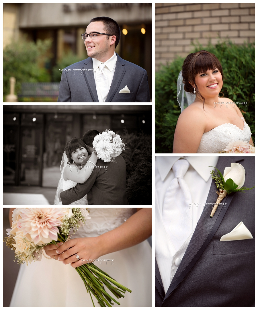 007 duluth wedding photographer mad chicken studio photographing bride and groom first look at the depot duluth with florals by saffron and grey and dress by kennedy blue.jpg