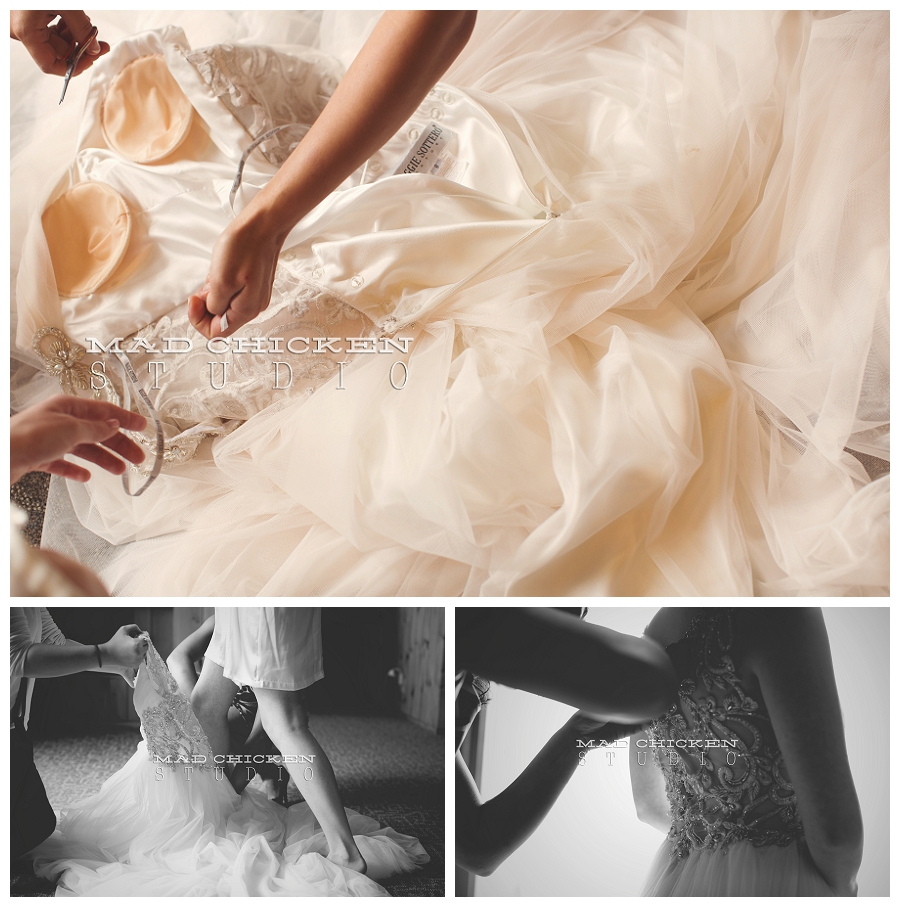 08 duluth wedding photographer mad chicken studio photographing bride getting into her maggie sottero gown at lutsen resort.jpg