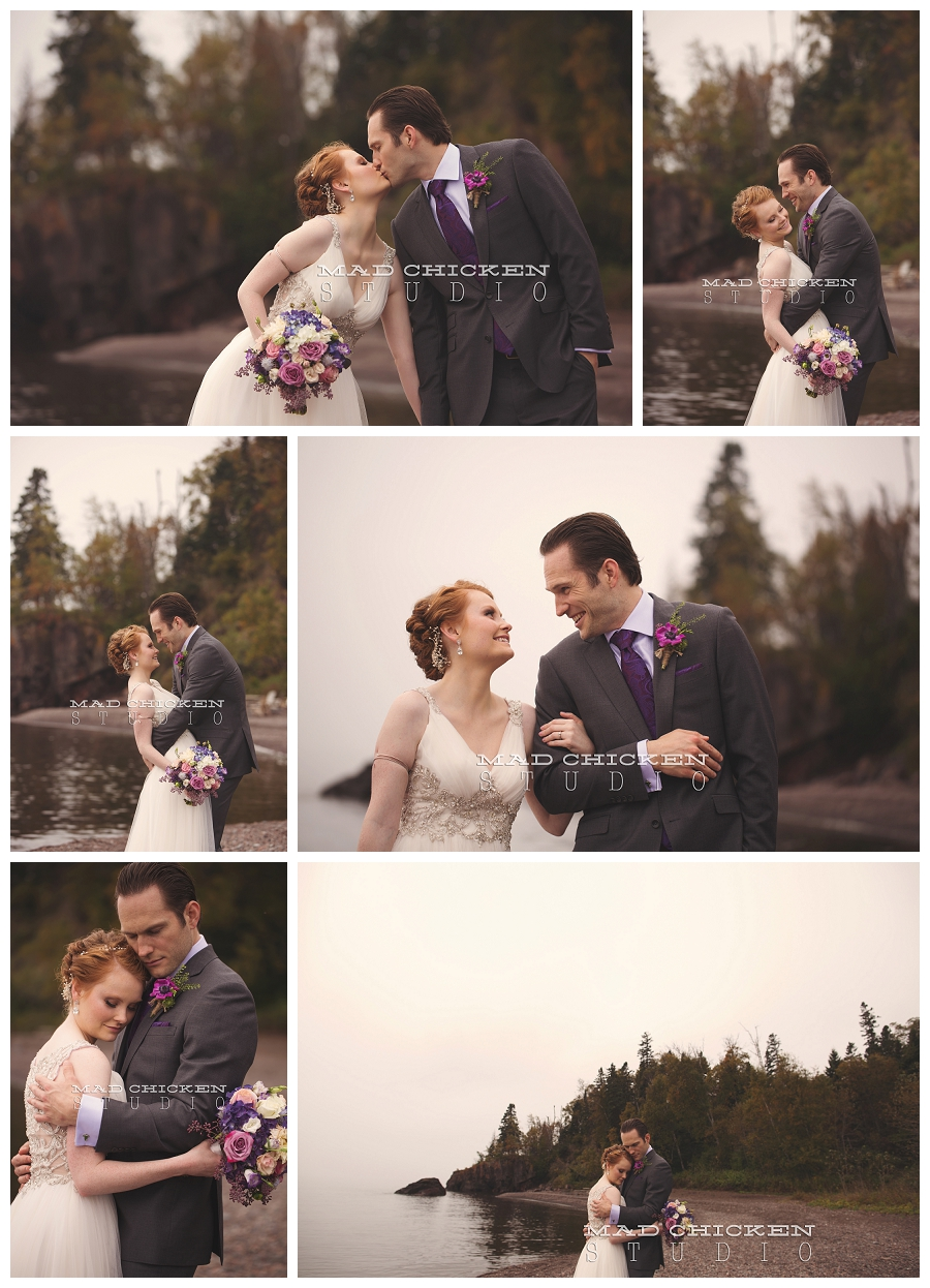 19 duluth wedding photographer mad chicken studio photographing bride and groom on lake superior at lutsen resort.jpg