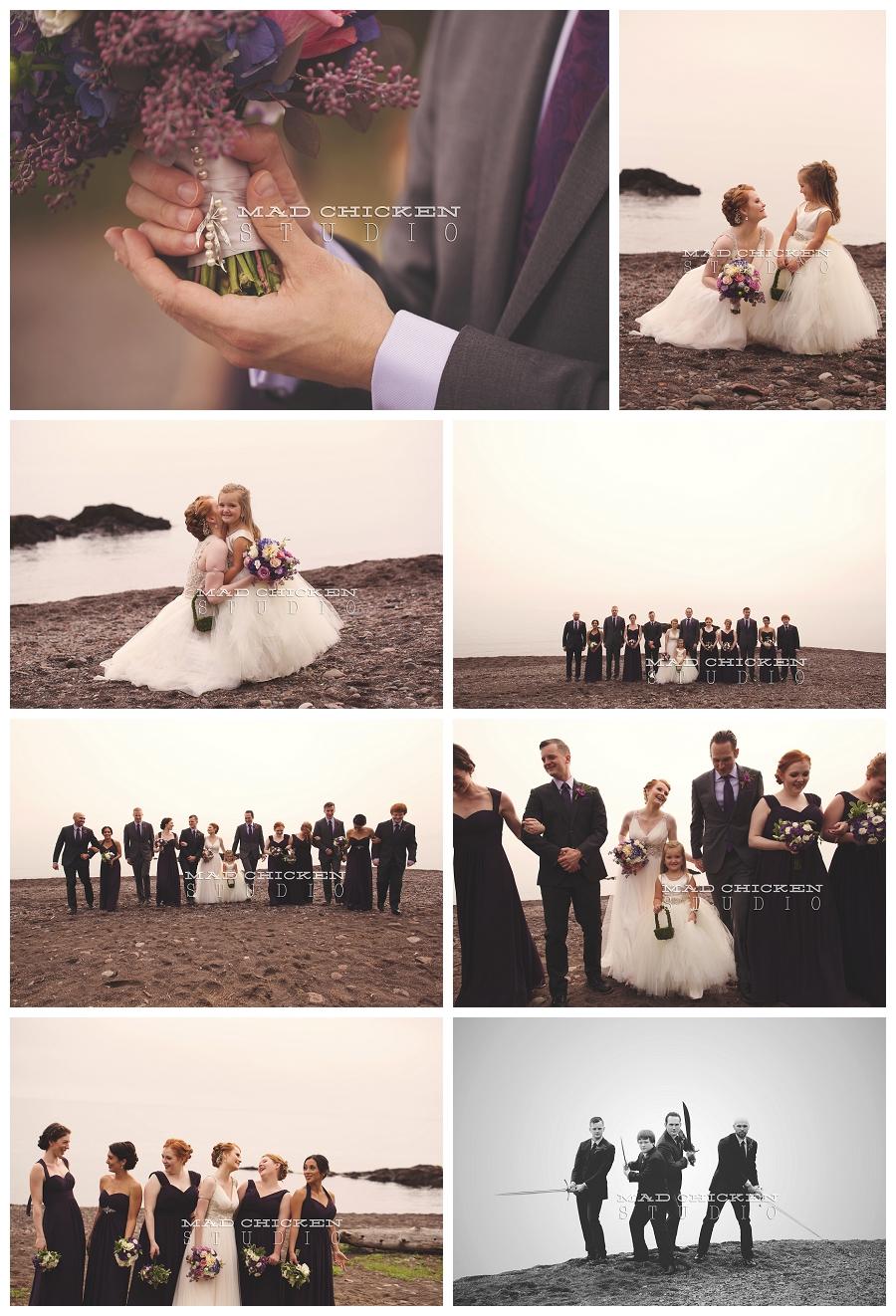 21 duluth wedding photographer mad chicken studio photographing wedding party on lake superior at lutsen resort.jpg