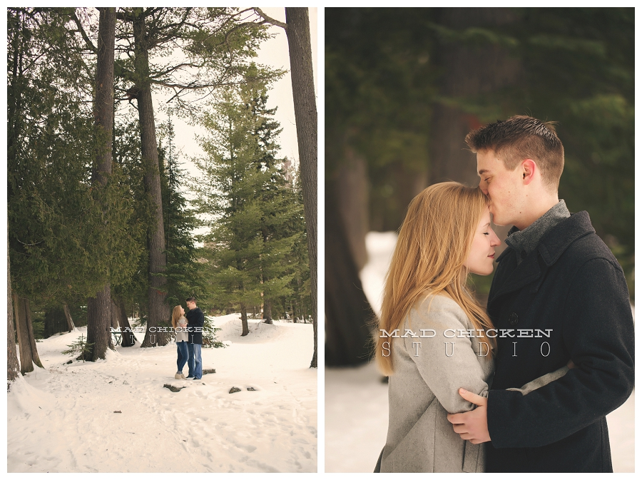 duluth wedding and engagement photographer mad chicken studio at lester park and lake superior photographing a winter engagement session