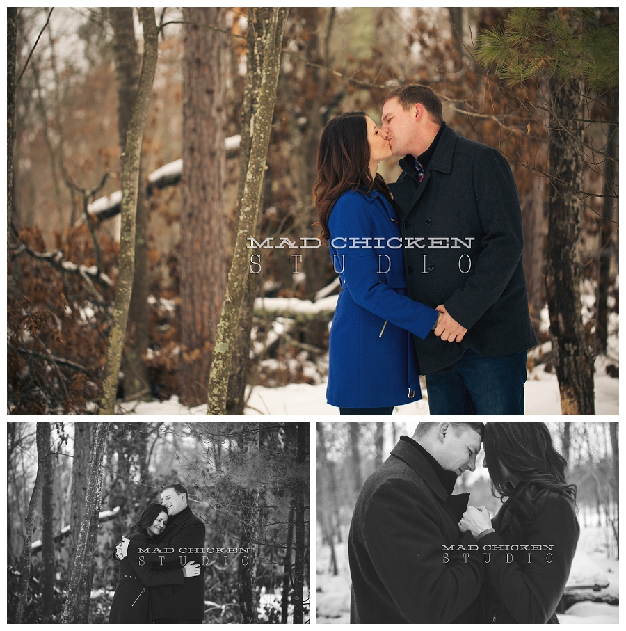 tom and nadine mallard lake resort winter engagement session in wbster wi