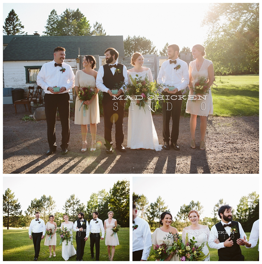 Saffron and Grey | Bella Rose Bridal | Port Bow Ties | Simply Gypsy Events | Brule River Wedding and Event Center | Duluth Wedding Photographer, Mad Chicken Studio
