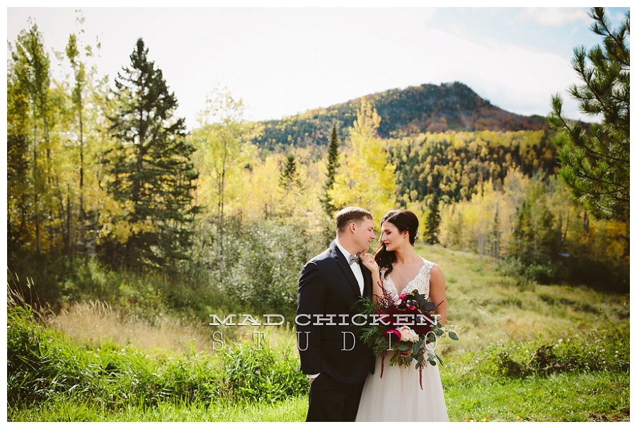 Duluth Wedding Photographer | Lutsen, MN | Mad Chicken Studio Photography | Summit Chalet | Watters Wedding Gown | Saffron and Grey | How Sweet It Is Cakes | 2 Dye 4 Salon