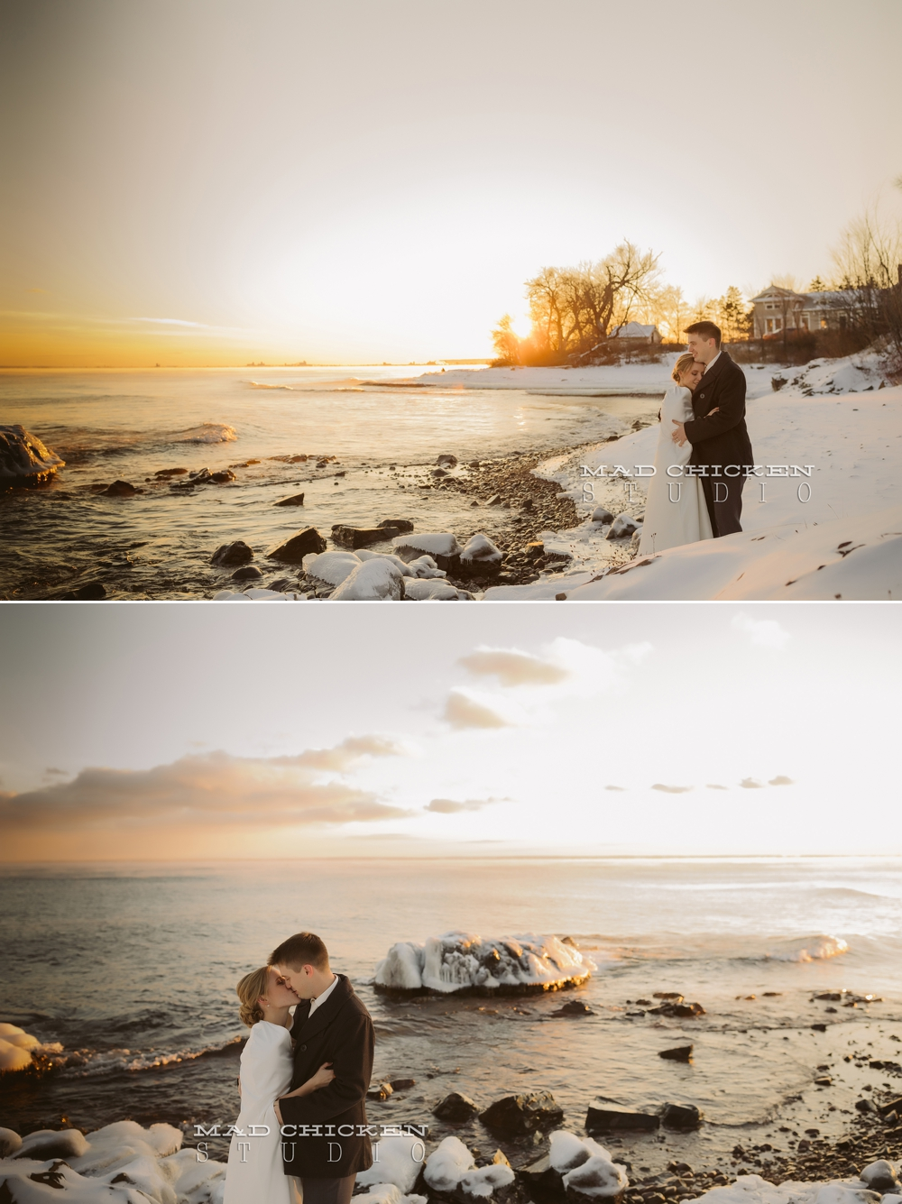 Parker and Nicole on the shore of Lake Superior in Duluth, MN on their wedding day photographed by Jes Hayes of Mad Chicken Studio | Duluth Wedding Photographer