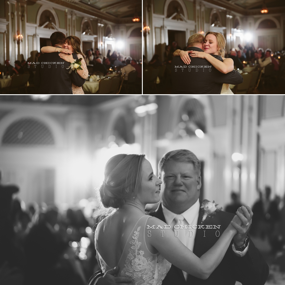 Parker and Nicole at Greysolon Ballroom in Duluth, MN on their wedding day photographed by Jes Hayes of Mad Chicken Studio | Duluth Wedding Photographer