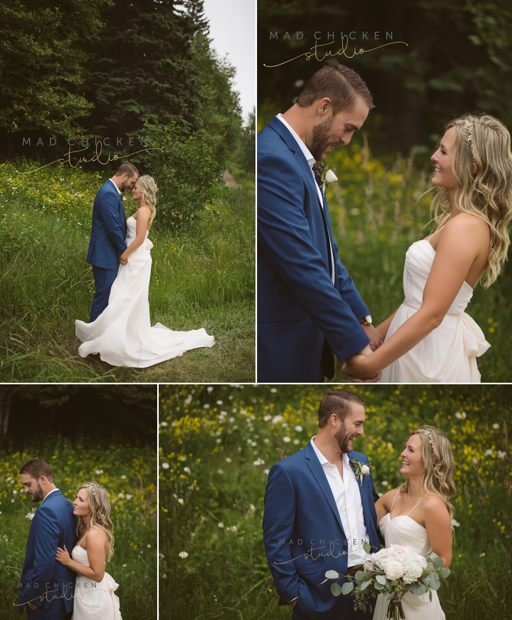 bride and groom portraits at Summit Chalet