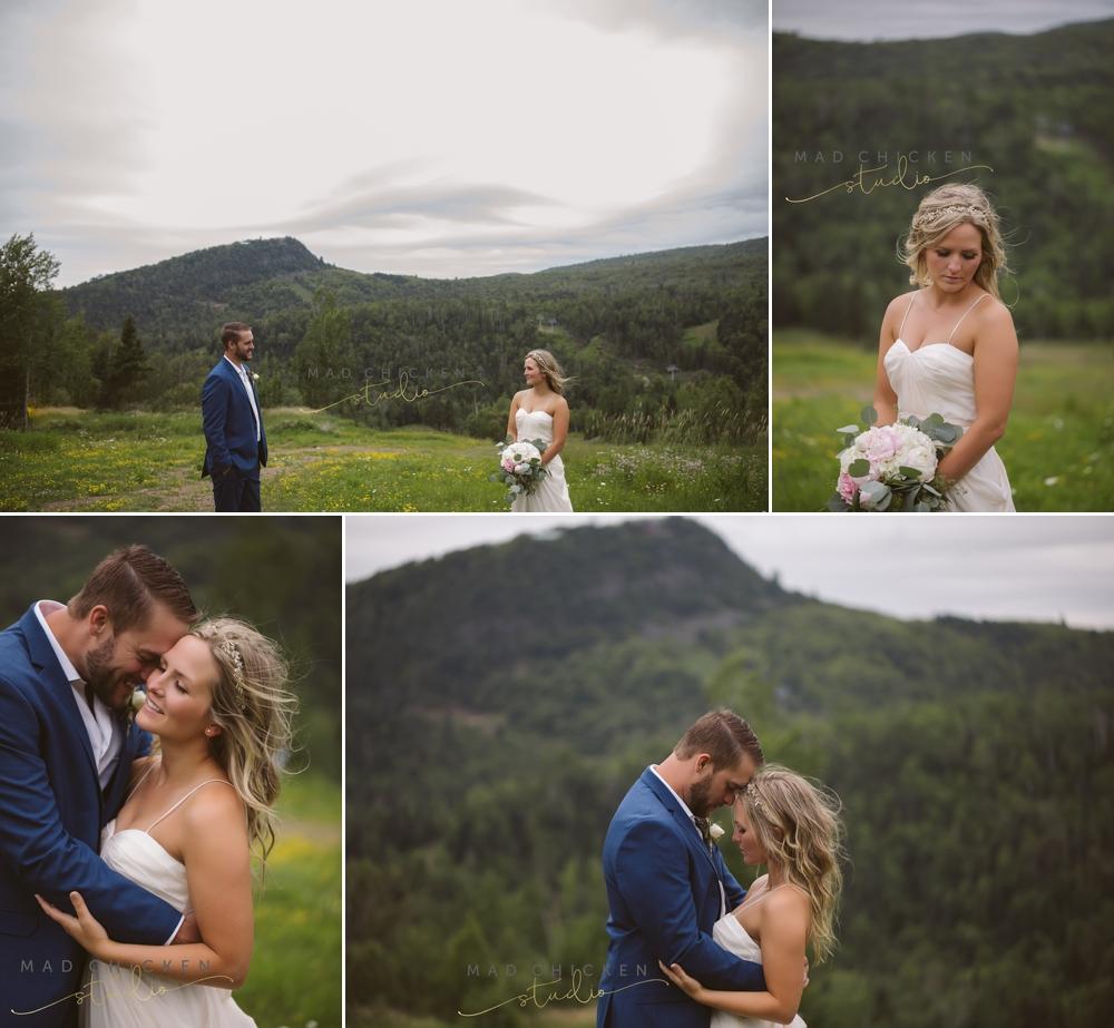 bride and groom in Lutsen, MN