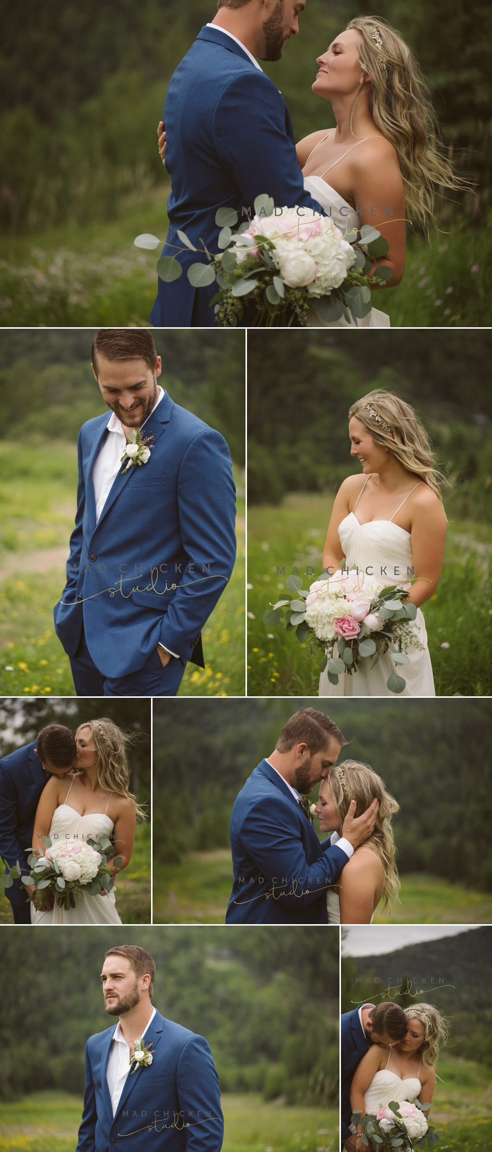 bride and groom at Lutsen Mountain