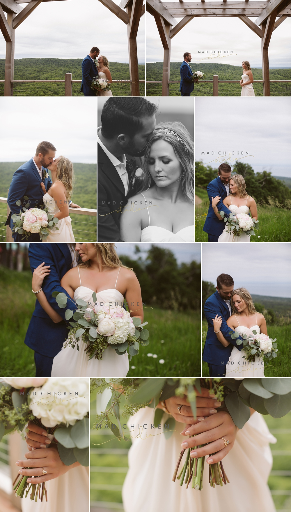 bride and groom on lutsen mountain