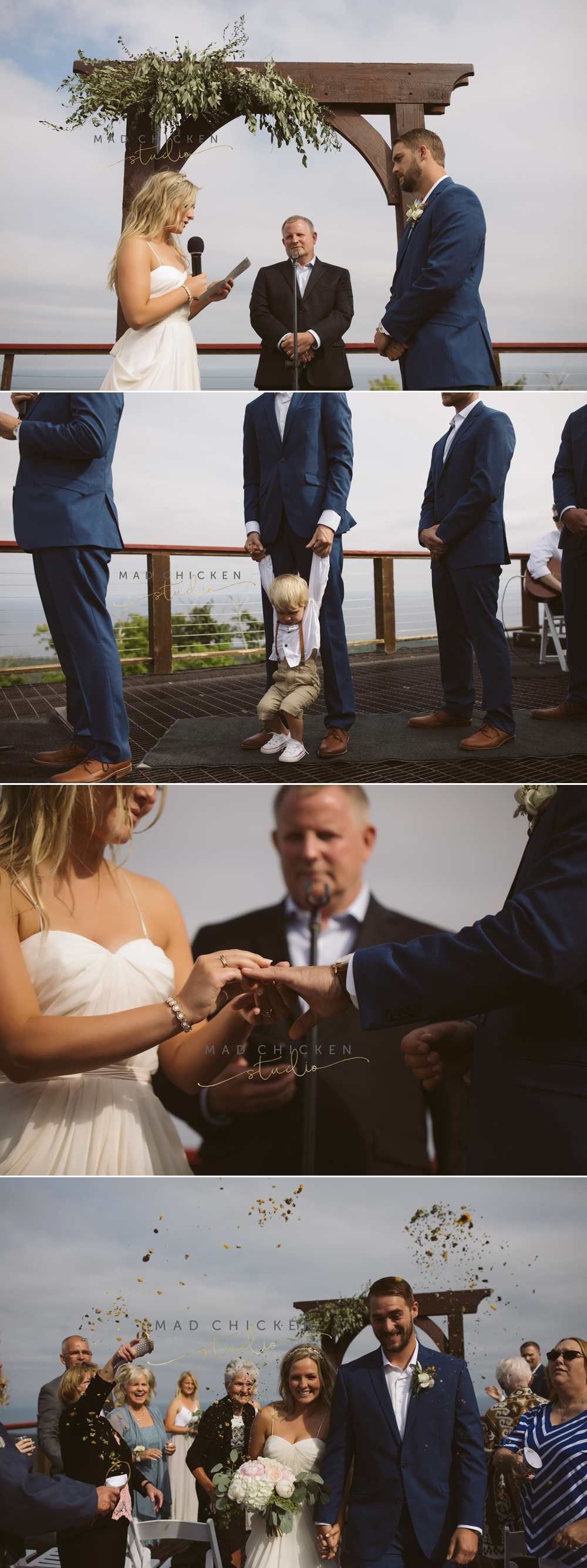 wedding ceremony at summit chalet