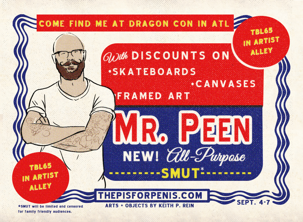 """Mr. Clean"" inspired promotional ad and coupon for The P is for Penis design by Keith P. Rein"