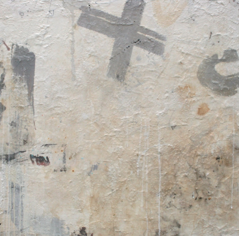 grey cross  mixed media on panel  30 x 30 x 2
