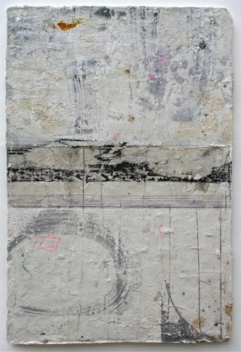 boundary line  sold  mixed media / paper / wood  30 x 20 x 1