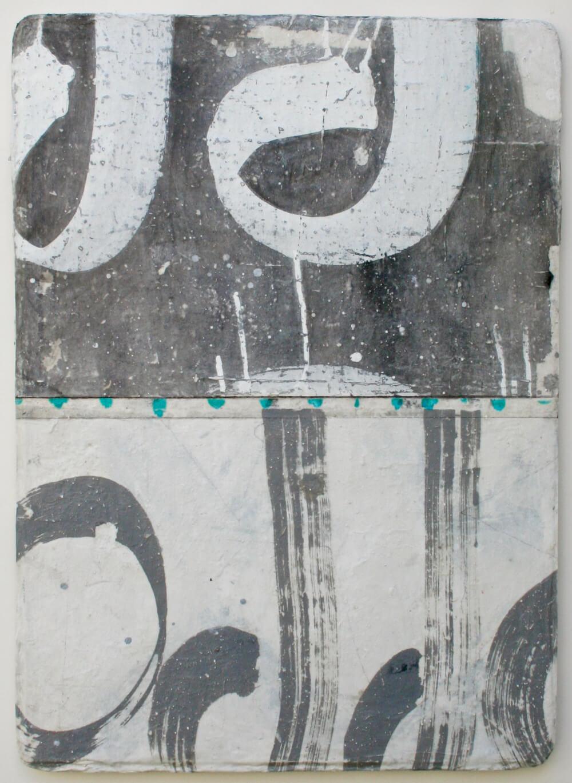 scribe  mixed media / paper / wood  26 x 19 x 1