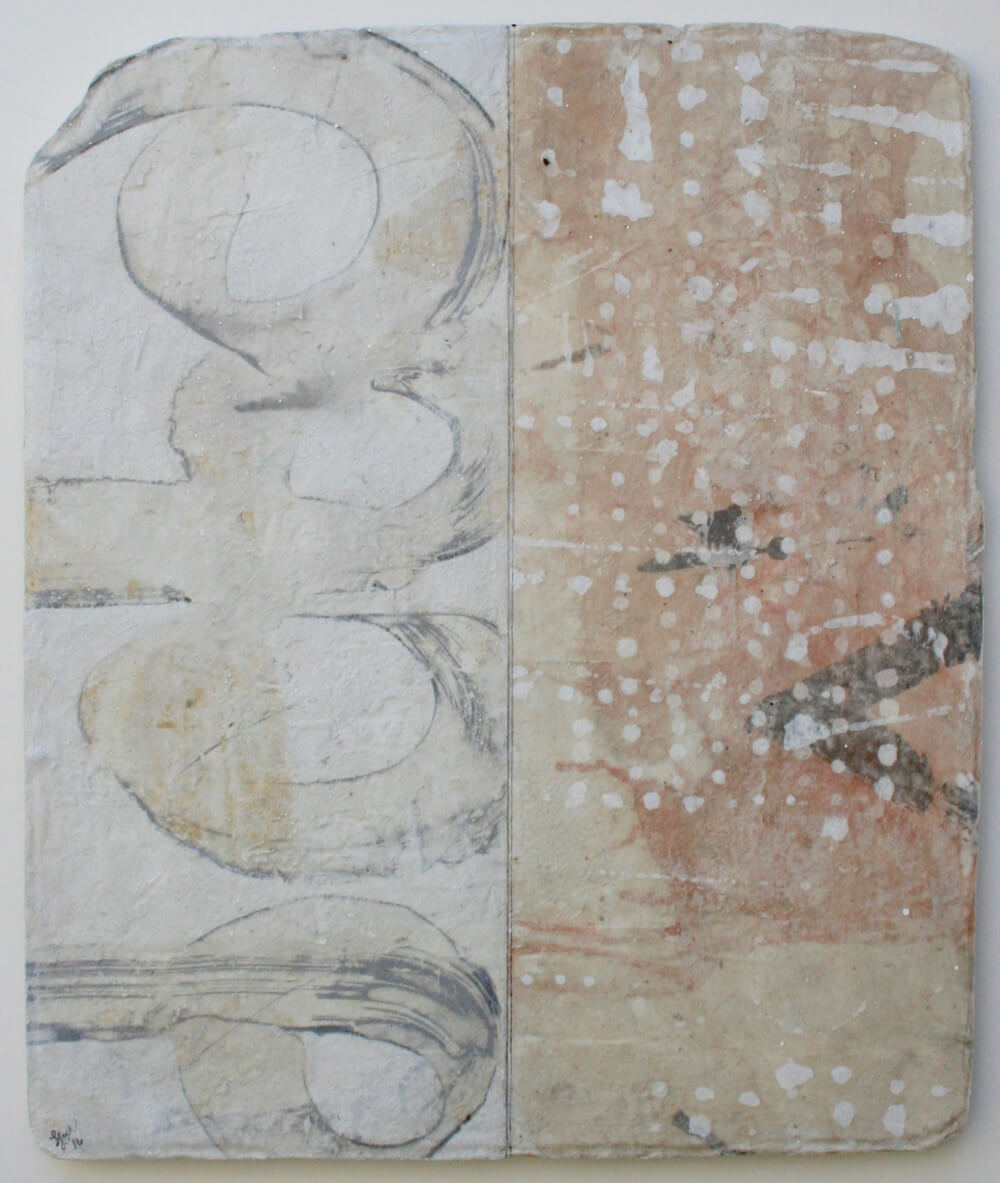 two views  mixed media / paper / wood  22 x 19 x 1  sold