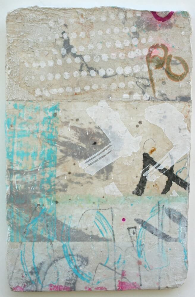 graffito  mixed media / paper / wood  23 x 15   sold