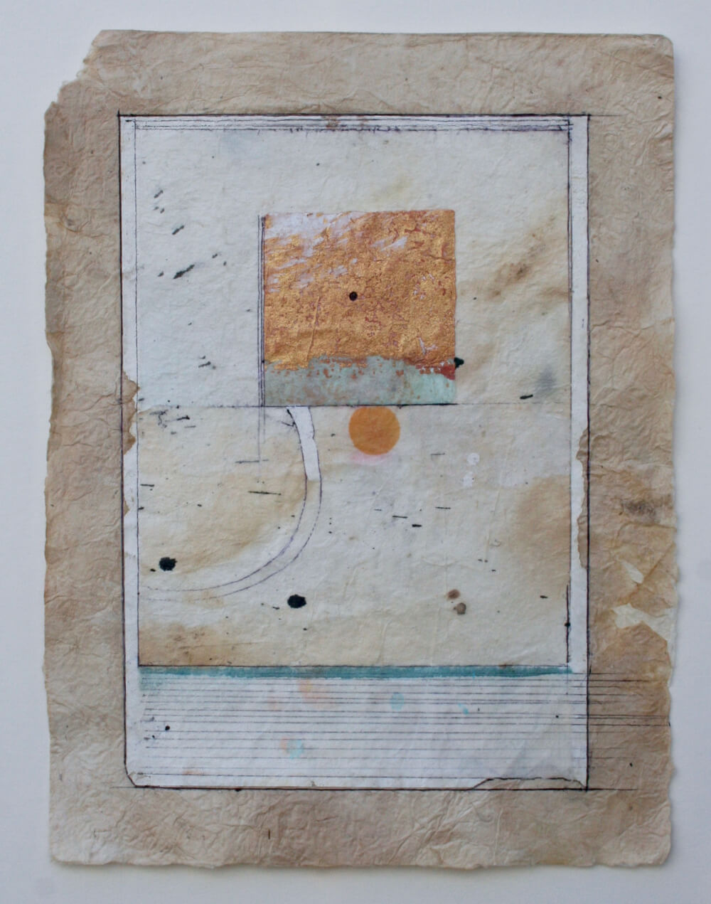 keys series   'meditation square'  mixed media on paper  12 x 9  .  .