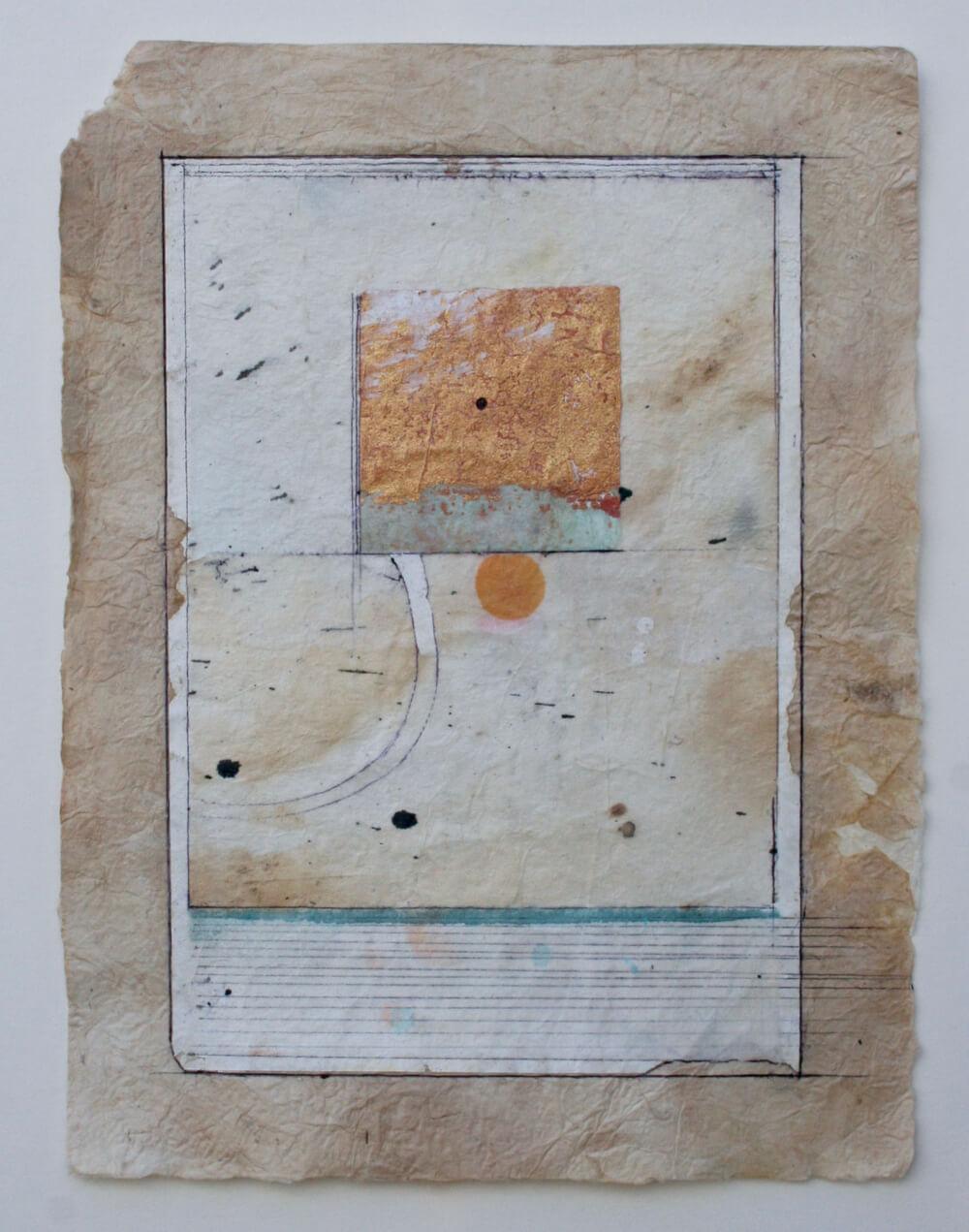 keys series  'meditation square'  mixed media on paper  12 x 9  sold  .  .