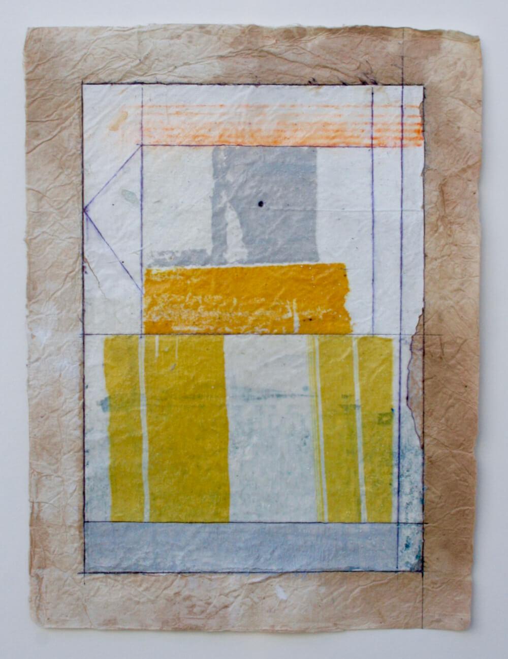 keys series  'grey stone'  mixed media on paper  12 x 9  .  .