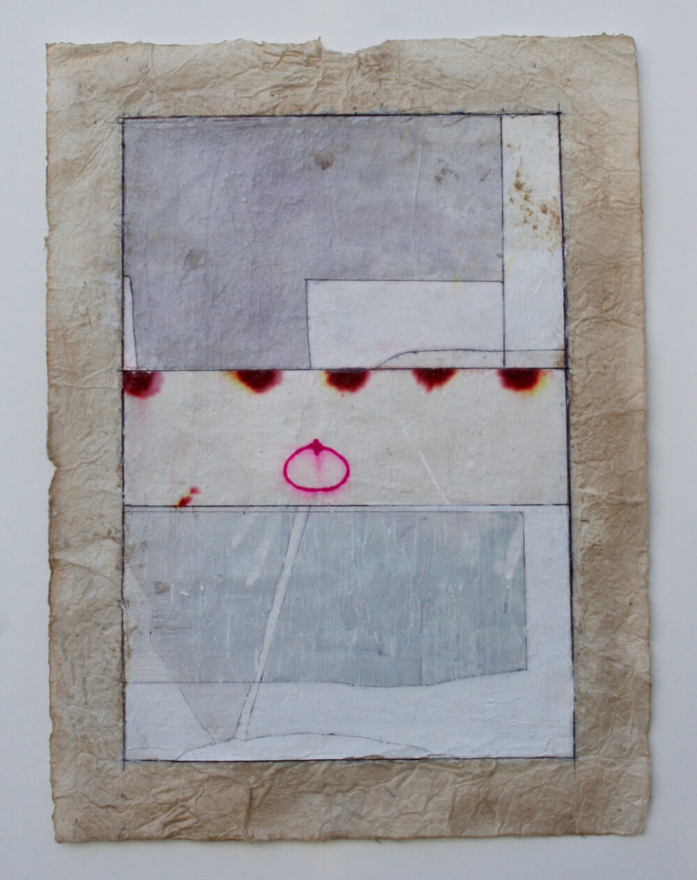 keys series   'deep pink unity'  mixed media on paper  12 x 9  .  .