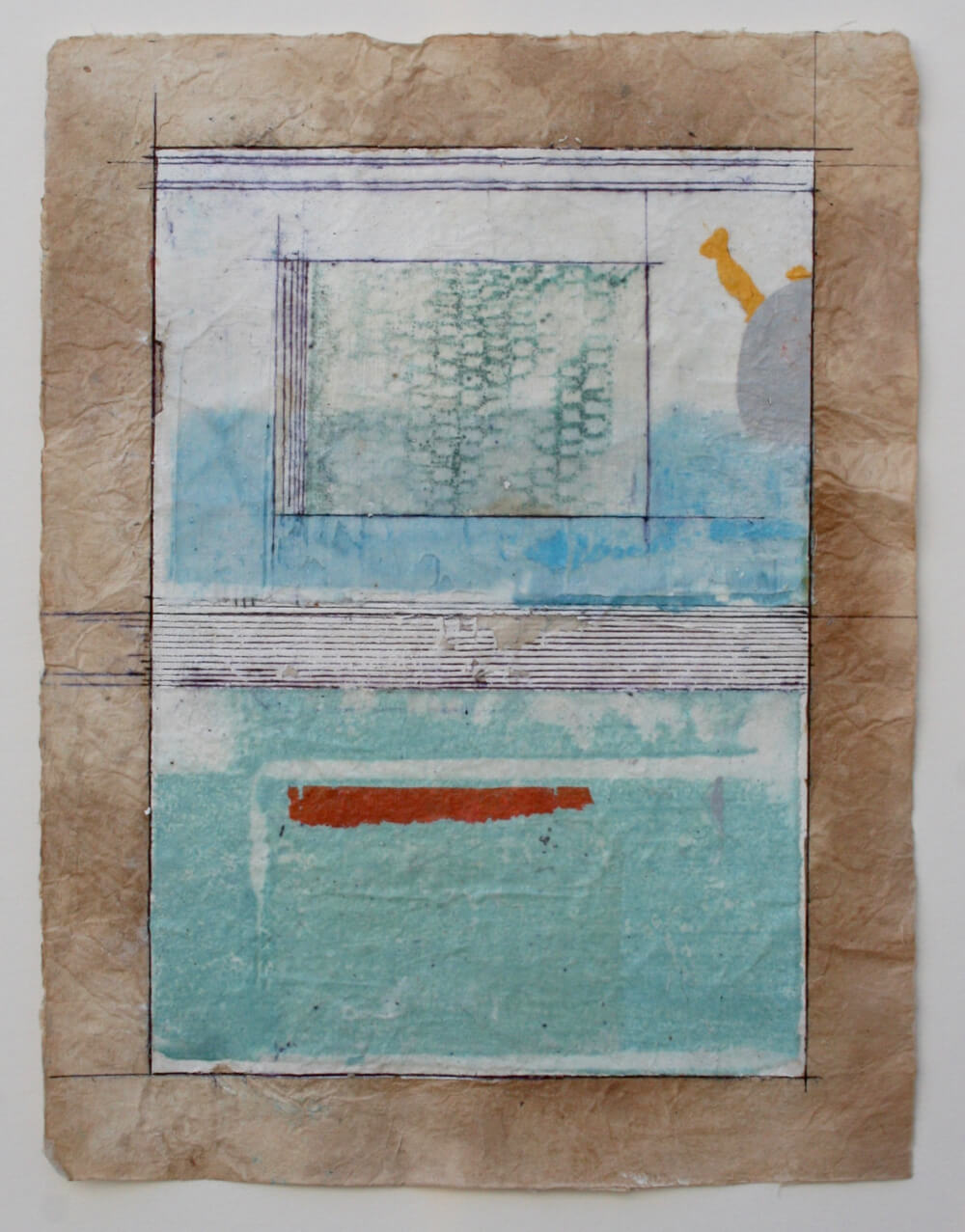 keys series   'hockney pool'  mixed media on paper  12 x 9  .  .