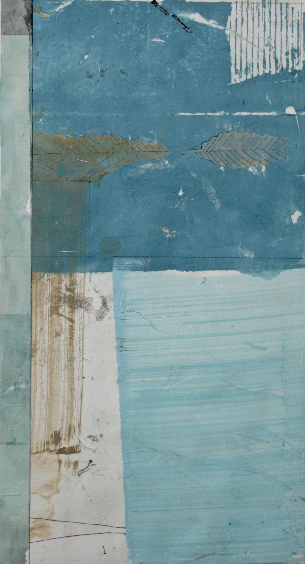 fossil  mixed media on paper  40 x 26  sold  .  .