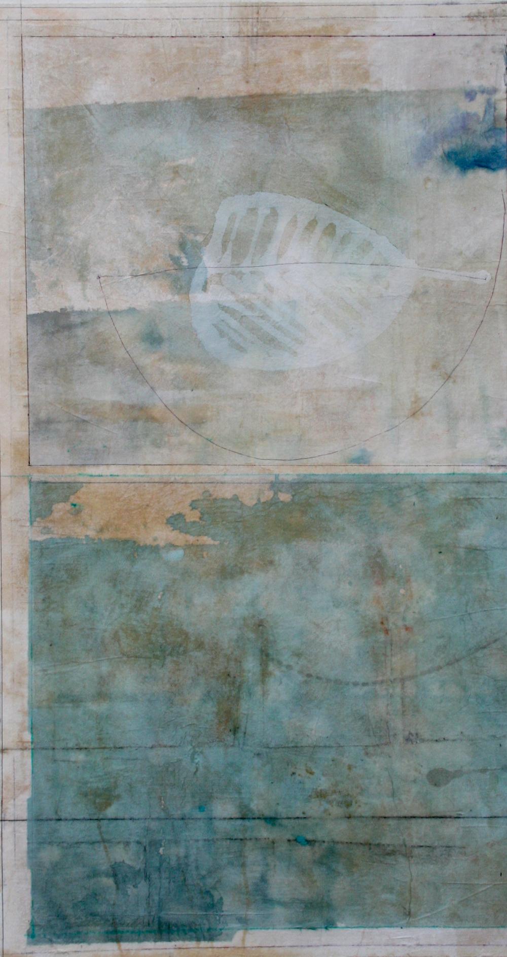 tea leaf  mixed media on paper  40 x 26  .  .
