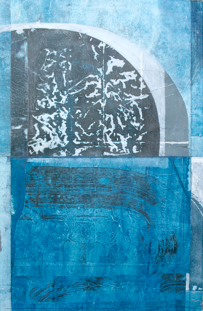 indigo  mixed media on paper  40 x 26  .  .     .  .